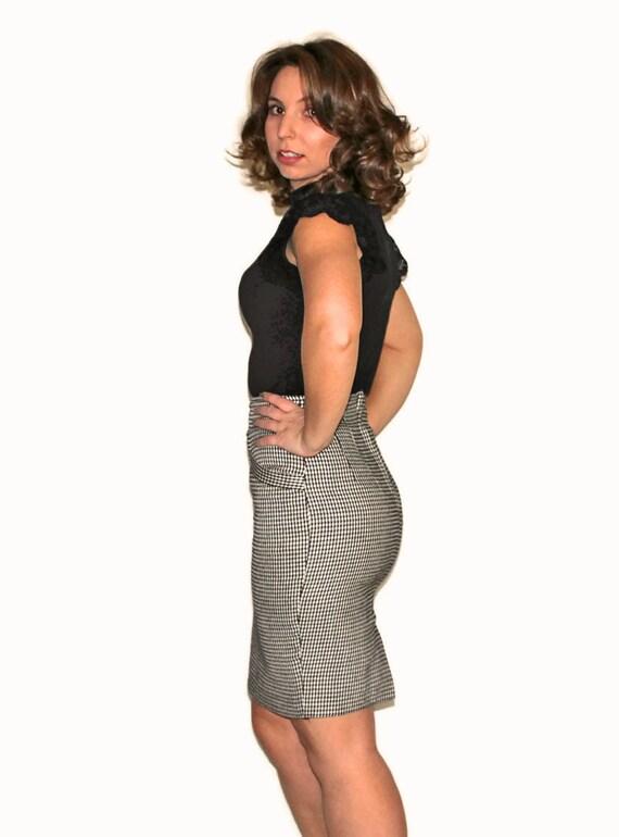 Vitnage Black White Skirt. Pencil Skirt. OBR Mini Skirt.