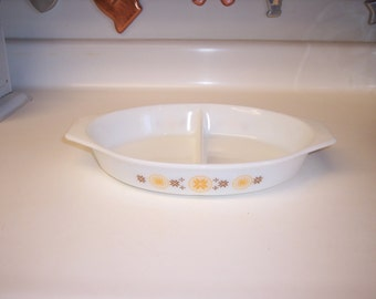 Vintage Pyrex divided dish casserole in Town and Country pattern orange and brown