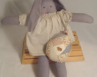 Handcrafted Grey Broadcloth Bunny Doll Holding Strip-quilted Easter Egg Pillow/Hanging
