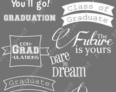 Graduation Photoshop Brushes Word Art Set / Chalkboard/ Chalk/ Overlays for Photographers / Clip Art / Digital Stamps / Digital Scrapbooking