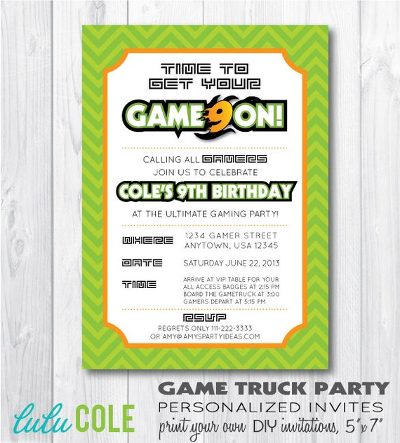 Game Truck Party Game Truck Party Invitation Game By Lulucole