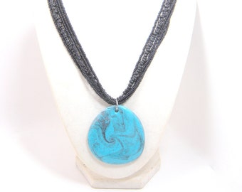 beaded faux turquoise pendant necklace - faux turquoise, polymer clay, polymer clay pendant, pendant necklace, beaded necklace, black beaded