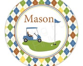 """Golf Personalized 10"""" Melamine Plate, 20 oz. Bowl or 2 Piece Set 