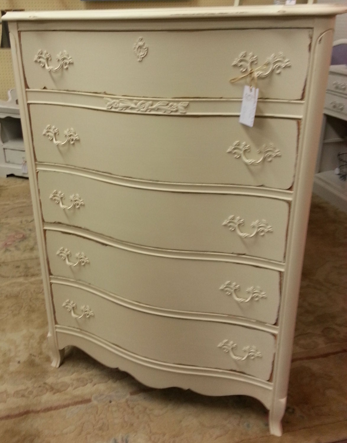 french provincial tall dresser off white distressed philly. Black Bedroom Furniture Sets. Home Design Ideas