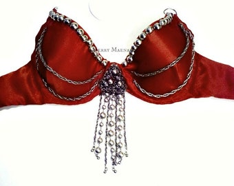 Bra for tribal fusion belly dance - size 34-36 D - cinnamon and silver. Women's tribal belly dance costume.