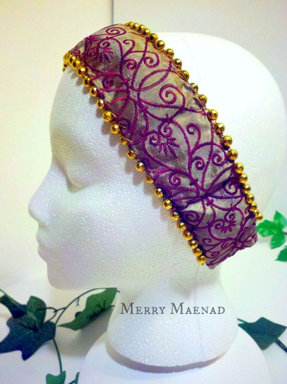 Gold & Scarlet Embroidered Beaded Headband. OOAK. Tribal Fusion Fantasy Headpiece.