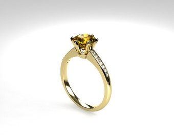 Citrine ring, yellow gold, diamond, engagement ring, yellow, diamond engagement, solitaire, citrine, micro pave, fancy yellow