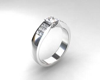 Princess cut Diamond, White Gold, Engagement ring, micro pave, Diamond engagement, Diamond engagement, Diamond ring, micro pave