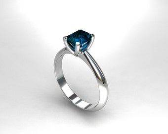 London blue topaz ring,  engagement ring, white gold, solitaire, emerald cut, blue engagement, traditional, yellow gold, rose gold, teal