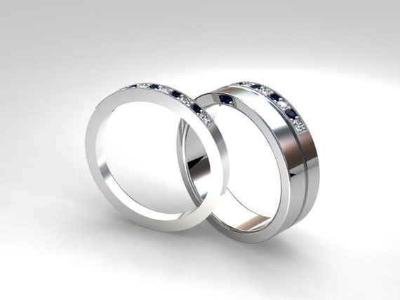 Palladium wedding band set Blue sapphire Diamond mens