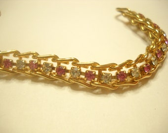 Vintage PINK and CLEAR RHINESTONE Tennis Bracelet (5047)