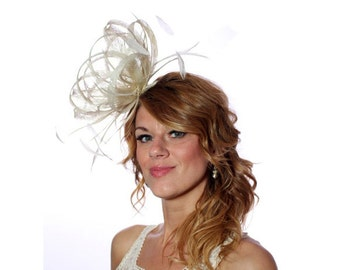Cream Sinamay Feather Fascinator Hat - wedding, ladies day - choose any colour feathers & sinamay