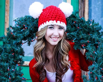 Christmas Santa Hat Womens Santa Hat Mens Santa Hat Pom Pom Hat Animal Ear Hat Red White Candy Cane Peppermint Christmas Hat Photo Prop Fun