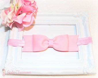Pink Bow Headband. Baby Headband. Newborn Headband. Girl Headband. Infant Headband. Photo Prop.
