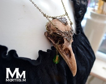 Animal-friendly WarriorCrow crow skull necklace pendant with Moss Green crystal by Mortiis.M