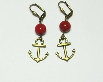 Nautical Anchor Earrings Red or Navy Blue Riverstone