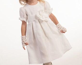 Girl linen dress Flower girl dress Baby girl baptism dress Wedding party girl dress First birthday dress Girl white dress Christening dress