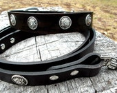 Large Dog Collar and Leash Set, Black Leather Dog Collar with Matching Leash, Collar and Leash for Big Dogs