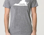 Virginia VA Roots Tri Blend Track T-Shirt - Unisex Tee Shirts Size S M L XL