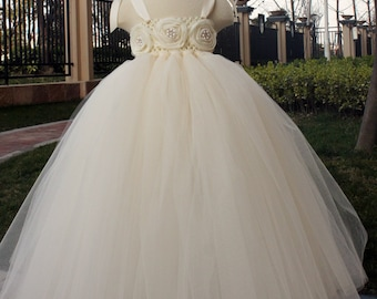 Flower Girl Dress Ivory tutu dress baby dress toddler birthday dress wedding dress 2T 3T 4T 5T 6T