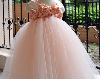 On Sales Flower Girl Dress Pear peach tutu dress baby dress toddler birthday dress wedding dress 1T 2T 3T 4T 5T 6T- 9T