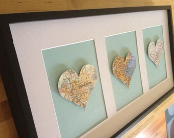 Heart Map, Personalized Wedding, Engagement, Anniversary or House Warming Gift- Framed & Matted