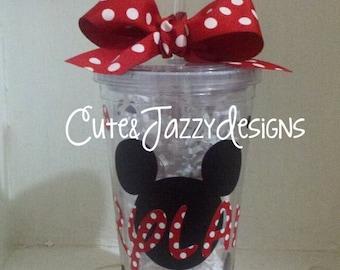 Personalized Mickey/Minnie Tumbler, 16oz BPA Free with Straw