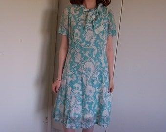 Blue 1960s Summer Dress With Bow Size Medium