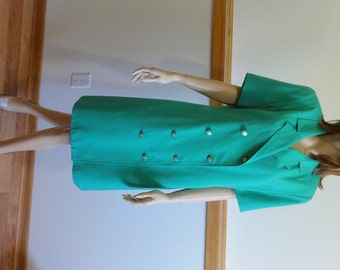 Vintage Dress, size 10, Green, Double Breasted, Short Sleeve, Machine Wash/Dry, Retro Dress #201