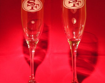 Pair of San Francisco 49ers hand etched champagne flutes Made in USA