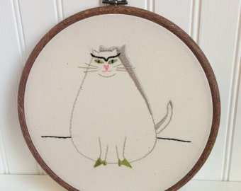 fat cat hand embroidery pattern