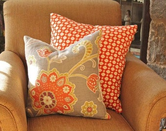 Set of Two Pillows-Chartreuse and Faded Brick Red Flower Linen Pillow Cover and Betwixt Pillow Cover