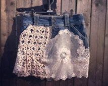 Upcycled Skirt- Jean and Vintage Doilies