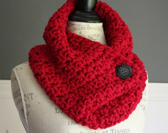 Red Cowl Neck Scarf with black button, crocheted