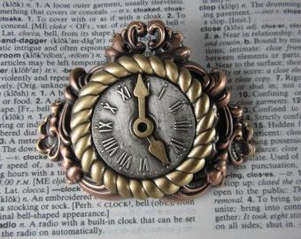 Steampunk Mantle Clock Brooch- Steampunk Jewelry- Clocks