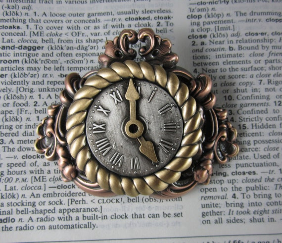 Steampunk mantle clock brooch steampunk jewelry clocks - Steampunk mantle clock ...