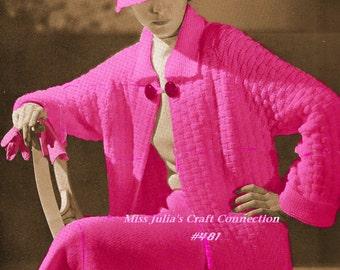 Almost FREE Vintage 1934 Elegante Coat Skirt Hat 3 Piece Set 481 PDF Digital Knit Pattern