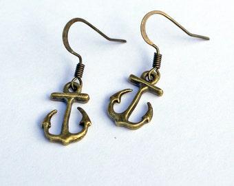 Anchor Earrings, Nautical Earrings, Brass Anchor Earrings, Little Anchor Earrings, Anchors Away Earrings, Anchors Earrings, Nautical