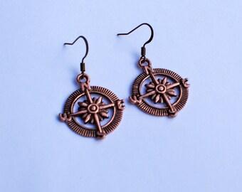 Compass Earrings, Nautical Earrings, Copper Sailor Earrings, Little Compass Earrings, North East South West Earrings, Nautical Wheel