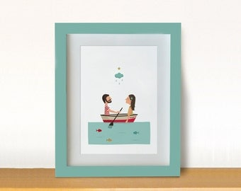 Illustration. Learning to row. Print. Wall art. Poster Art decor. Hanging wall. Printed art. Decor home. Gift idea. Bedroom. Sweet home.