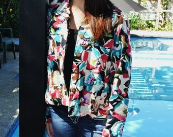 Vintage Abstract Sequined Short Crop Jacket by Lifestyle