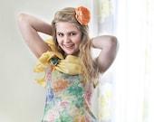Orange handmade fabric flower brooch, flower for sash, spring wedding, summer fashion