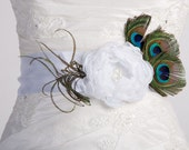 SALE: 50% OFF - White peacock bridal sash belt,  white fabric flowers sash. bridal sash, peacock feather sash