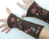 Felted Mittens / felted gloves/Flower Mittens Fingerless Mittens Nunofelt  winter brown pink  fiber art - AnnaWegg