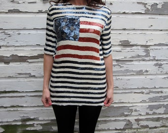 90s Vintage Stars & Stripes American Flag Sequin Top