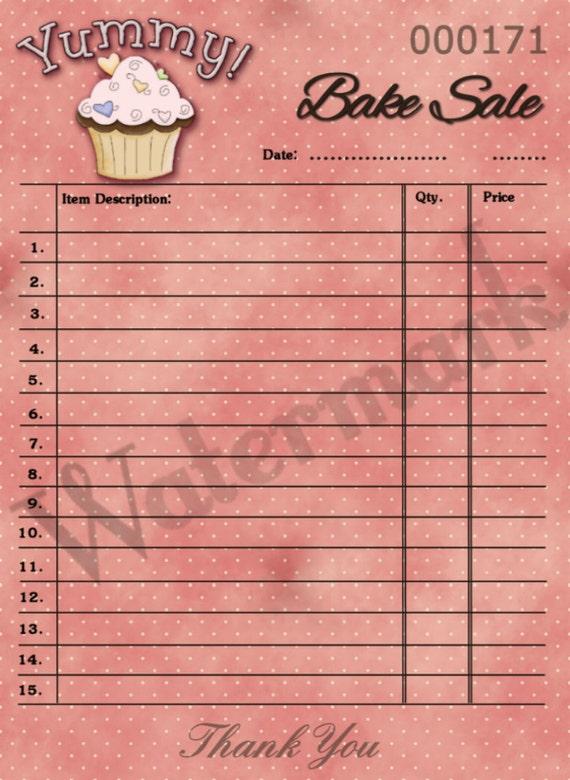 items similar to printable cupcake bake sale hang tag