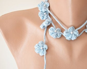 Blue Crochet Wrap Scarf, Oya Beaded Lariat Necklace, Pearl Flower Skinny Scarf, Baby Blue Flower Boho Necklace, Christmas Gift, ReddApple