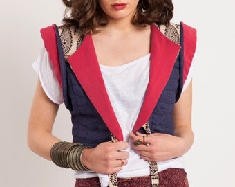 Cropped linen vest with Indian cotton,Hippie boho coat,Cropped jacket, Quilted linen blue jacket, Denim vest,Bohemian jacket, Spring jacket