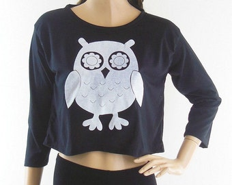 Owl shirt cute tee graphic tshirt women top slogan tshirt quote tee blogger tshirt teen shirt long sleeve shirt screen print size M