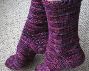 Picot Edged Knit Socks Pattern - INDULGE YOURSELF Socks Knitting Pattern PDF - Digital Download